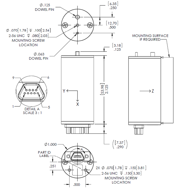 DIGS™100 Inertial Guidance System Outline Drawing